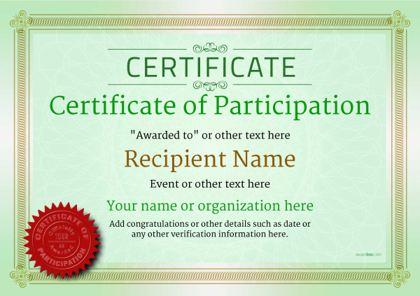 certificate-of-participation-template-award-classic-style-4-green-seal Image
