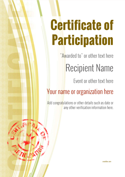 certificate-of-participation-template-award-modern-style-1-yellow-stamp Image