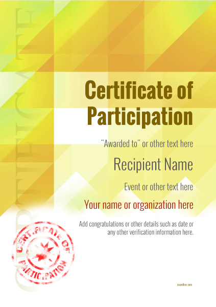 certificate-of-participation-template-award-modern-style-2-yellow-stamp Image