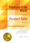 free modern employee of the month certificate template fully editable and printable