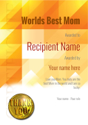 nice bright yellow modern background certificate for worlds best mom editable