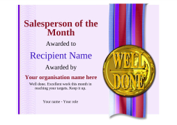 salesperson of the month certificate award Image