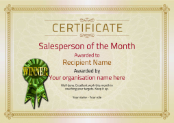 salesperson of the month certificate winner Image