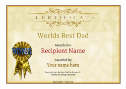 vintage style worlds best dad certificate yellow free template