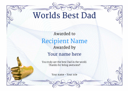 popular thumbs up certificate template for worlds best dad