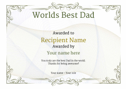 swirly background worlds best dad certificate free editable template