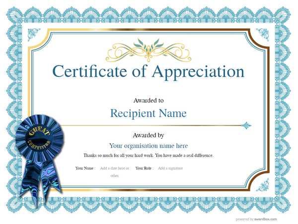 classic design appreciation certificate template with rosette decoration