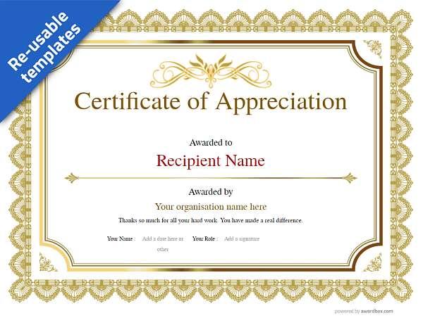 classic certificate of appreciation yellow