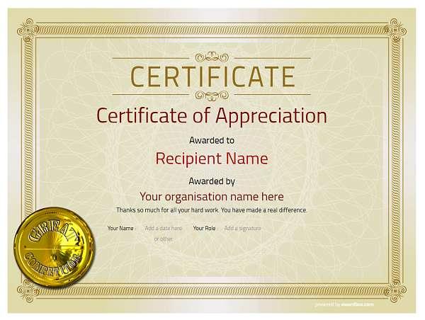 attractive vintage design certificate of aoppreciation editable