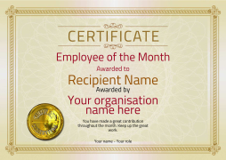 simple to edit free certificate template for employee of the month
