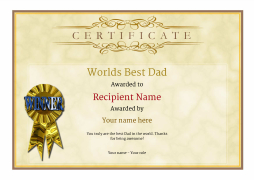 worlds best dad certificate award Image