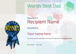 worlds best dad certificate modern with winner rosette