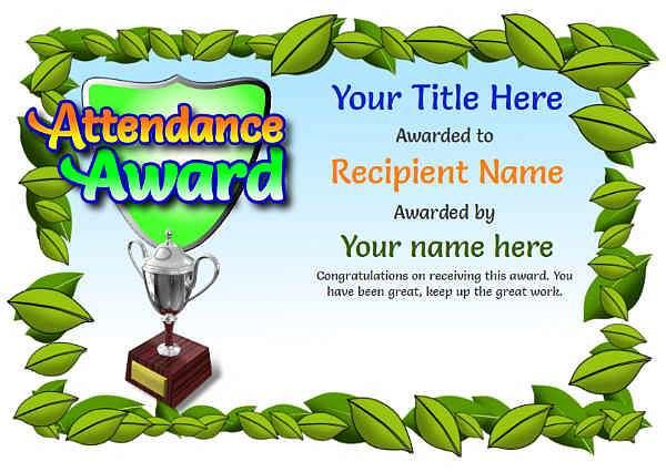 junior attendance certificate template Image