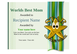 best mom in the world certificate star Image