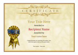 Free certificate templates simple to use add printable badges medals blank certificate template rosette image yelopaper Gallery