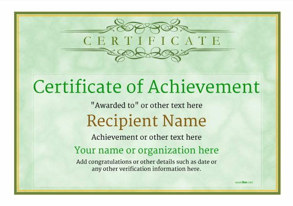 certificate of achievement template award classic style 1 - Free Printable Certificate Of Achievement Template