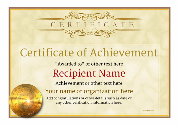 certificate of achievement template award classic style 1 - Certificate Of Achievement Template Free