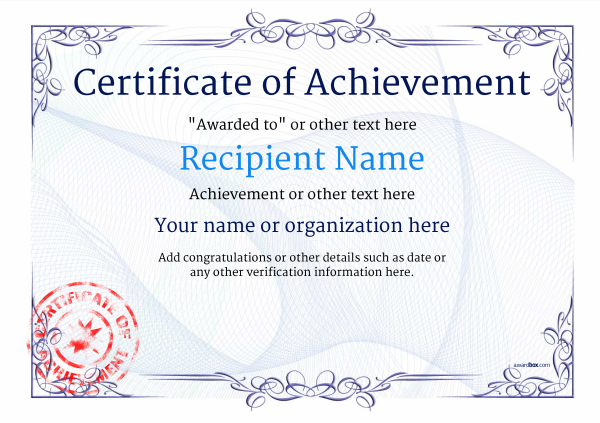 certificate-of-achievement-template-award-classic-style-2-blue-stamp Image