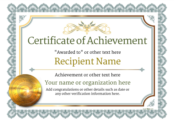 Printable certificate of achievement free download template.