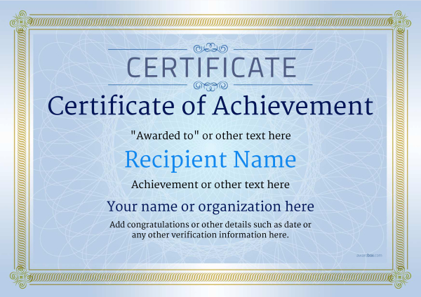 certificate-of-achievement-template-award-classic-style-4-blue-blank Image