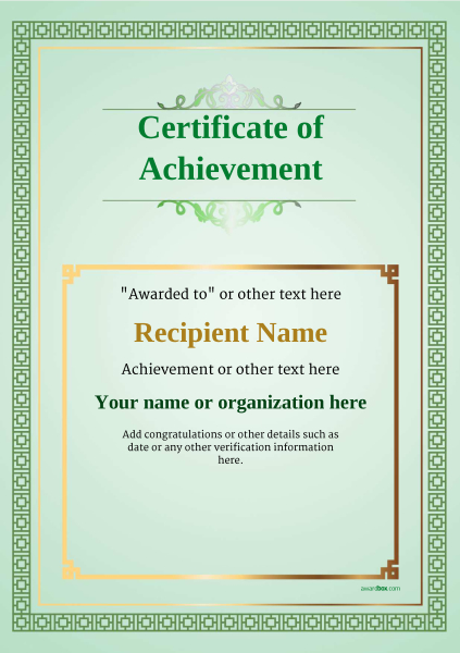certificate-of-achievement-template-award-classic-style-5-blank-green Image