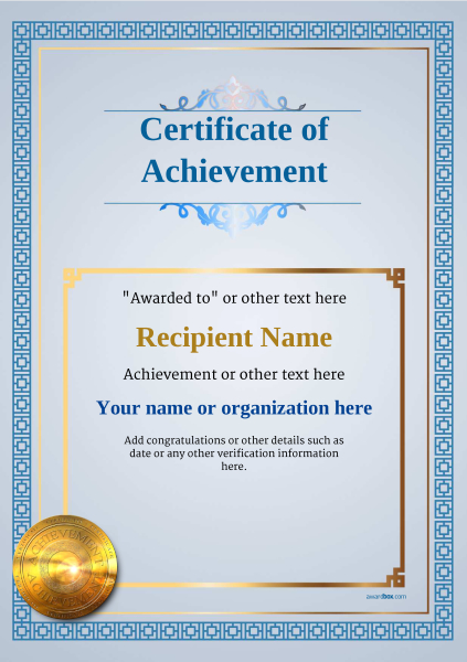 certificate-of-achievement-template-award-classic-style-5-medal-blue Image