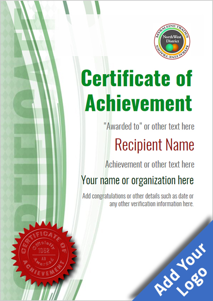 certificate-of-achievement-template-award-modern-style-1-green-seal Image
