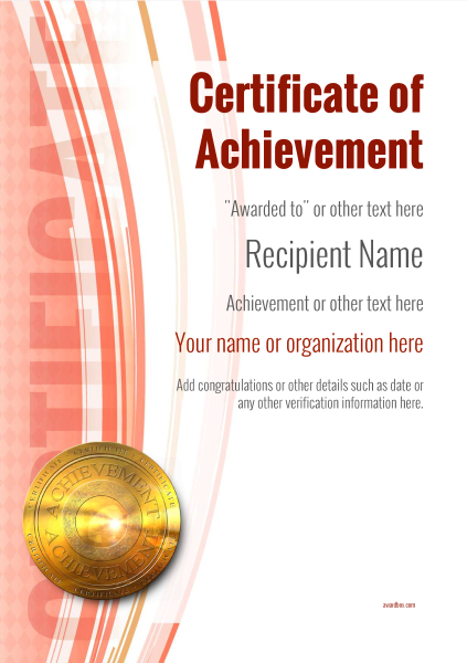 certificate-of-achievement-template-award-modern-style-1-red-medal Image