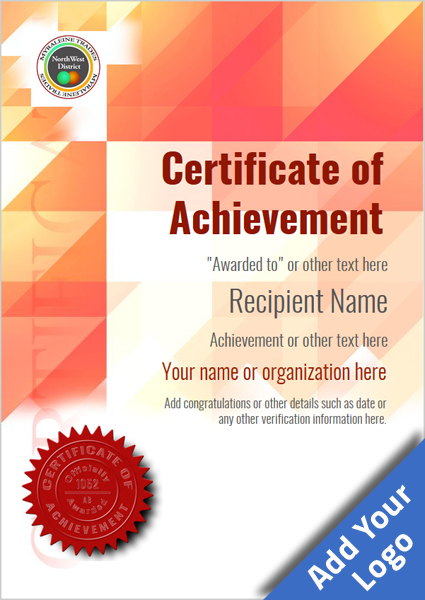 certificate-of-achievement-template-award-modern-style-2-red-seal Image