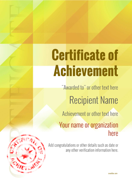 certificate-of-achievement-template-award-modern-style-2-yellow-stamp Image