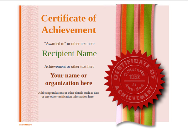 certificate-of-achievement-template-award-modern-style-4-red-seal Image