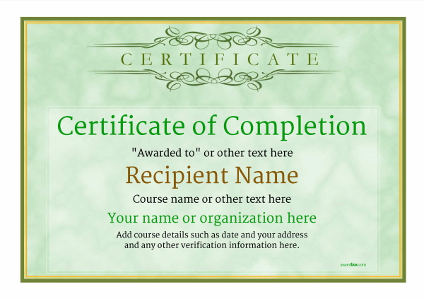 certificate-of-completion-template-award-classic-style-1-green-blank Image