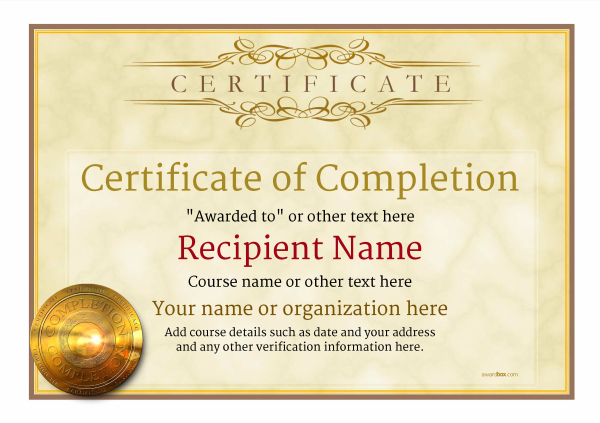 graphic about Free Printable Certificates of Completion named Certification of Completion - Cost-free Excellent Printable Templates