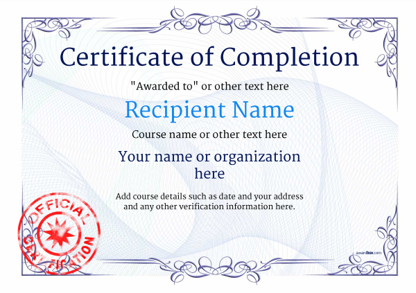 certificate-of-completion-template-award-classic-style-2-blue-stamp Image