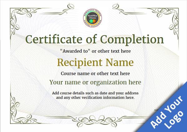 picture about Free Printable Certificate of Completion identified as Certification of Completion - Totally free Excellent Printable Templates