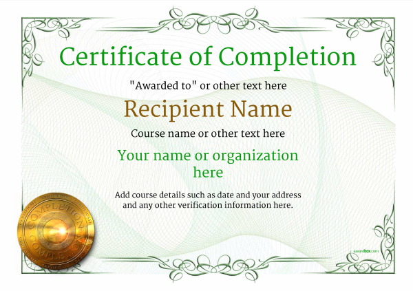 image relating to Free Printable Certificates of Completion called Certification of Completion - Absolutely free Excellent Printable Templates