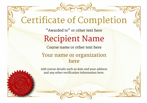image relating to Free Printable Certificate of Completion referred to as Certification of Completion - Free of charge High quality Printable Templates