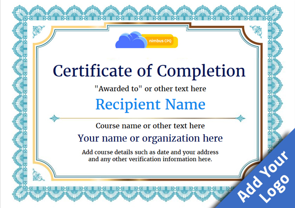 certificate-of-completion-template-award-classic-style-3-blue-blank Image