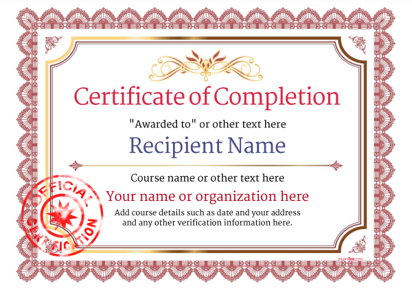 certificate-of-completion-template-award-classic-style-3-red-stamp Image
