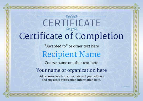 certificate-of-completion-template-award-classic-style-4-blue-blank Image