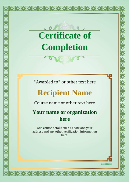 certificate-of-completion-template-award-classic-style-5-blank-green Image