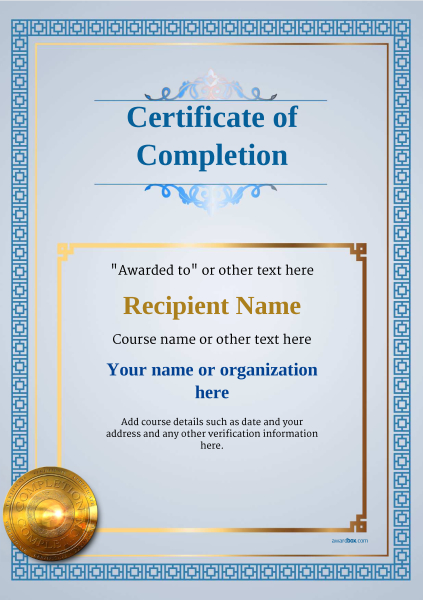 certificate-of-completion-template-award-classic-style-5-medal-blue Image