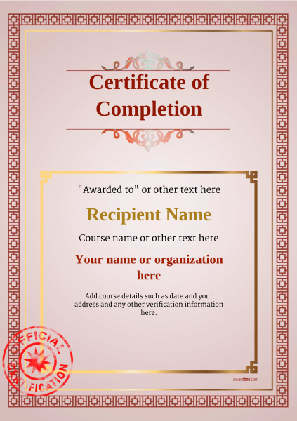 certificate-of-completion-template-award-classic-style-5-red-stamp Image