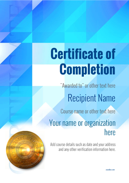 certificate-of-completion-template-award-modern-style-2-blue-medal Image