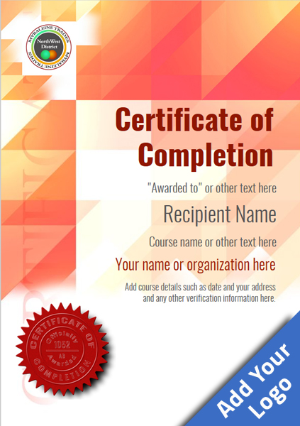 certificate-of-completion-template-award-modern-style-2-red-seal Image