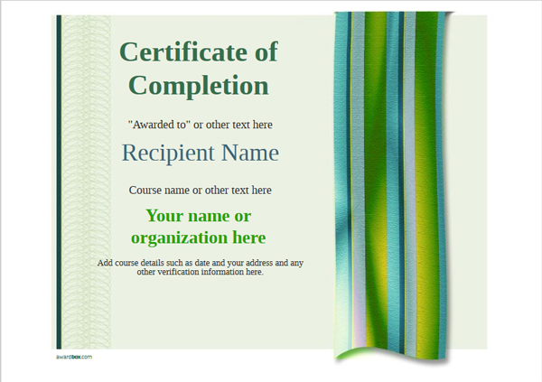 certificate-of-completion-template-award-modern-style-4-green-blank Image