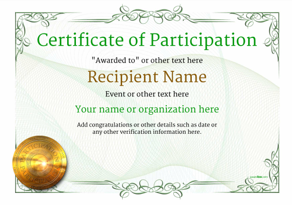 certificate-of-participation-template-award-classic-style-2-green-medal Image
