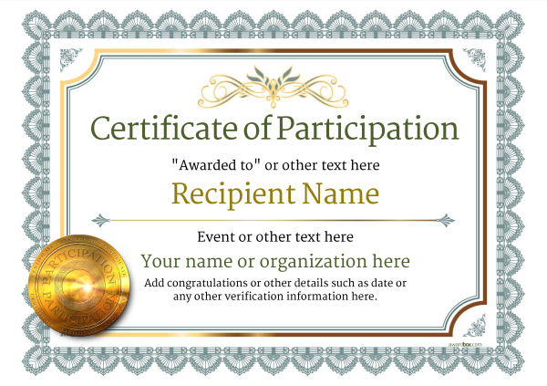 Participation Certificate Templates - Free, Printable, Add