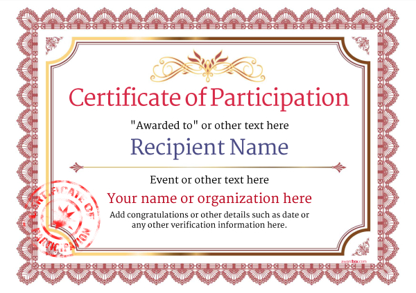 certificate-of-participation-template-award-classic-style-3-red-stamp Image