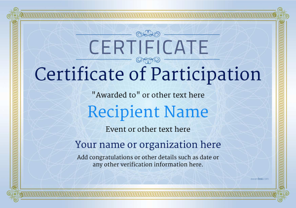 certificate-of-participation-template-award-classic-style-4-blue-blank Image